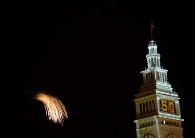 Fireworks Beside the Ferry Building, Super Bowl City 2015, San Francisco
